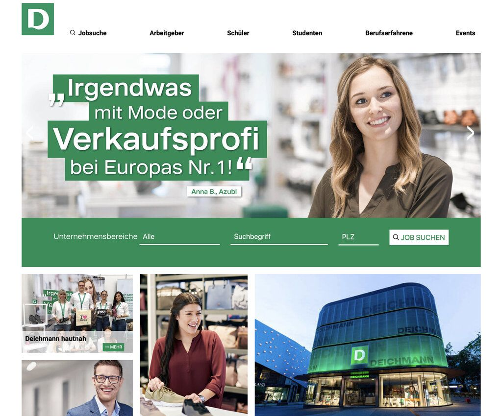 Screenshot Deichmann Website